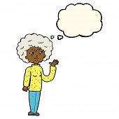 stock photo of annoyance  - cartoon annoyed old woman waving with thought bubble - JPG