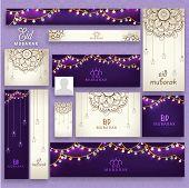 stock photo of ramazan mubarak  - Beautiful floral design and lights decorated social media ads - JPG