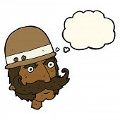 picture of hunter  - cartoon victorian big game hunter with thought bubble - JPG