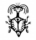 picture of bestiality  - black mite or beetle in native style - JPG