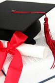 Graduation Cap And Diploma On A Book