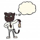stock photo of dead mouse  - cartoon business cat with dead mouse with thought bubble - JPG