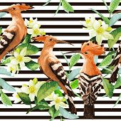image of tropical birds  - Seamless pattern with exotic birds - JPG
