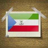 picture of guinea  - Flags of Equatorial Guinea at frame on a brick background - JPG