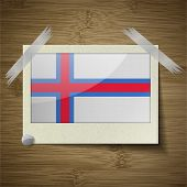 image of faro  - Flags of Faroe Islands at frame on wooden texture - JPG