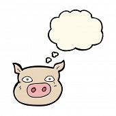 stock photo of pig head  - cartoon pig face with thought bubble - JPG