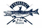 pic of musky  - Vintage pike fishing emblem - JPG