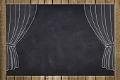 picture of curtains stage  - stage curtain drawing on chalkboard  - JPG