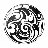 stock photo of maori  - Vector illustration with round tribal art tattoo - JPG