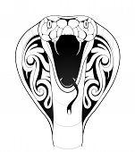 image of cobra  - Vector illustration with cobra snake tattoo on white - JPG