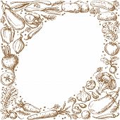 picture of oval  - Oval frame with sketch of vegetables and spices set - JPG