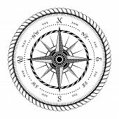 stock photo of wind-rose  - Ancient Sign of Wind Rose Engraving Stylized  - JPG