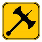picture of battle  - Battle axe button on white background - JPG