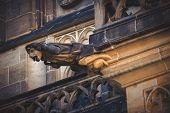 stock photo of gargoyles  - Gargoyle Statue on Saint Vitus Cathedral in Prague Castle Hradcany Retro toned Image - JPG