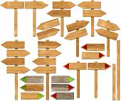 picture of pole  - Collection of wooden signs with directional arrow and pole - JPG