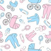 picture of babygro  - Seamless vector pattern with newborn accessories - JPG