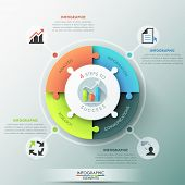 foto of pie-chart  - Modern infographic options banner with pie chart divided into 4 puzzle elements - JPG