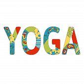 picture of yoga  - Colorful inscription Yoga - JPG