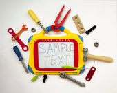 picture of pliers  - Toy hammer screwdrivers wrenches pliers screws and bolts with a whiteboard on a white background - JPG