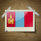 picture of mongol  - Flags of Mongolia at frame on wooden texture - JPG