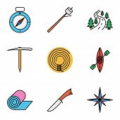 pic of wind-rose  - Camping flat vector icon set for web and mobile applications - JPG