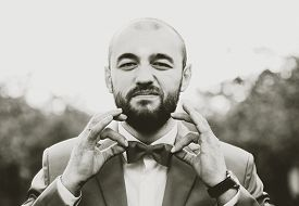 pic of bowing  - Man with beard in suit holding bow tie grain effect - JPG