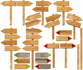 stock photo of light-pole  - Collection of wooden signs with directional arrow and pole - JPG