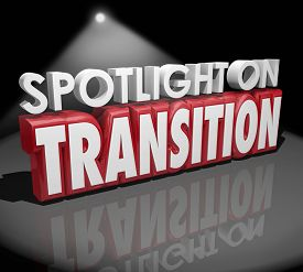 picture of transformation  - Spotlight on Transition words in 3d letters to illustrate change or different transformation - JPG