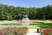 image of chopin  - Summer park with monument of Chopin  - JPG