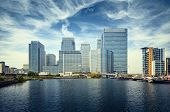 stock photo of hsbc  - Canary Wharf view from West India Docks - JPG