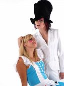 stock photo of mad hatter  - Alice and the Mad Hatter having a good time - JPG