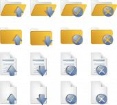 Document folder icon set, with different operations