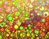 Retro abstract psychedelic multicolored circle pattern design