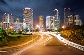 Modern Australian City At Night With Dynamic Street Lights