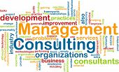 Word cloud concept illustration of management consulting