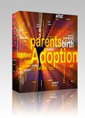 Software package box Word cloud concept illustration of  child adoption glowing light effect