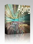 Software package box Word cloud concept illustration of age aging glowing light effect