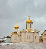 Постер, плакат: Old russian church in gloomy weather The area of the largest monastery of the Russian Orthodox Chur