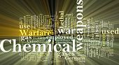 Word cloud concept illustration of  chemical weapons glowing light effect