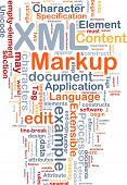 Word cloud concept illustration of XML markup language