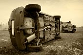 Cars Turned Upside-down, Sepia