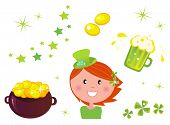St. Patrick's Day Set & Leprechaun Icons Collection.