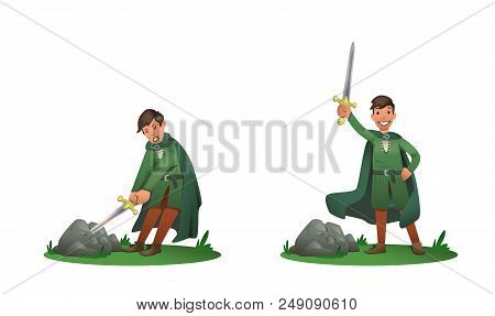Young King Arthur Withdrawing Excalibur