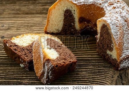 Traditional Homemade Marble Cake Sliced