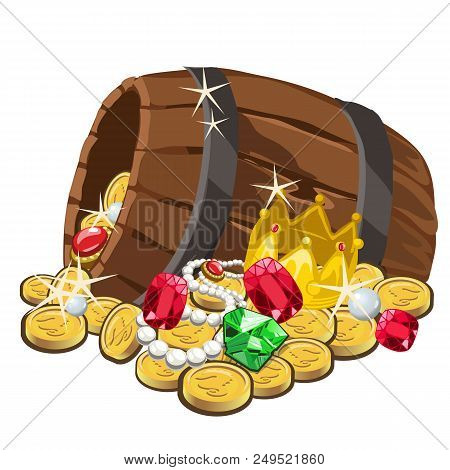 Wooden Barrel With Gold Coins