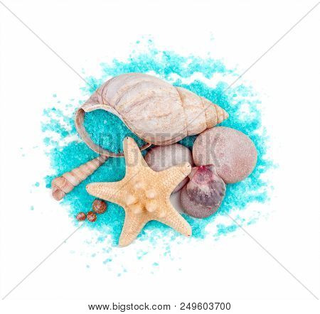 poster of Sea Shells And Sea Stars With Sea-green Sea Salt Isolated On White Background