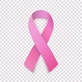 Stock Vector Illustration Realistic Pink Ribbon, Breast Cancer Awareness Symbol, Isolated On A Trans poster