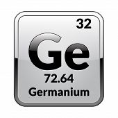 Germanium Symbol.chemical Element Of The Periodic Table On A Glossy White Background In A Silver Fra poster