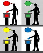 Male Voter Silhouettes With Different Colored Thought Bubble By Voting For Election. All The Silhoue poster