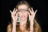 Fashion Woman Wear Fashion Glasses. Fashion Model With Fashion Look. poster